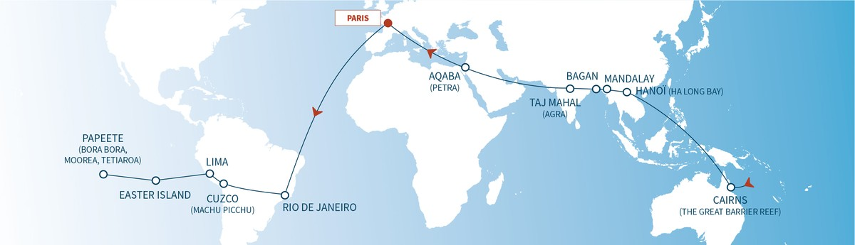 Carte Du Monde Tahiti.World Tour Air Cruise 2019 Safrans Du Monde